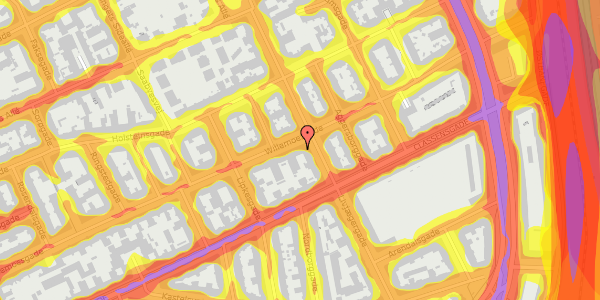 Trafikstøjkort på Willemoesgade 58, 4. tv, 2100 København Ø