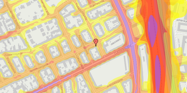 Trafikstøjkort på Willemoesgade 66, 2. tv, 2100 København Ø