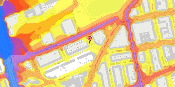 Trafikstøjkort på Vognmandsmarken 28, 3. th, 2100 København Ø