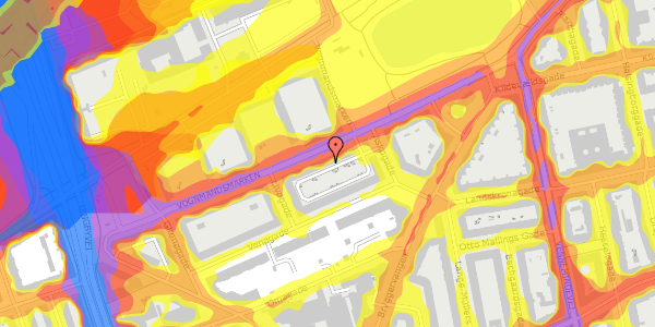 Trafikstøjkort på Vognmandsmarken 64, 1. tv, 2100 København Ø