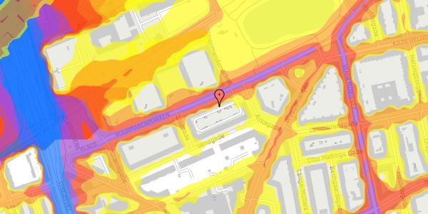 Trafikstøjkort på Vognmandsmarken 64, 4. tv, 2100 København Ø