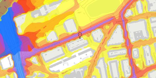 Trafikstøjkort på Vognmandsmarken 66, 3. th, 2100 København Ø