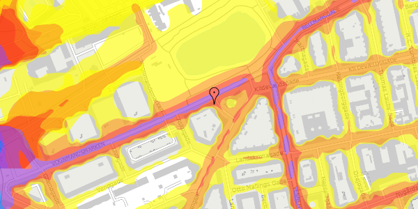Trafikstøjkort på Vognmandsmarken 78, 4. tv, 2100 København Ø