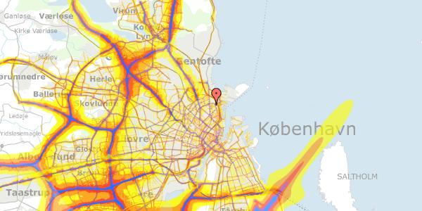 Trafikstøjkort på Vordingborggade 6G, 3. 32, 2100 København Ø