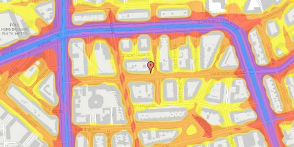 Trafikstøjkort på Vordingborggade 19, st. th, 2100 København Ø