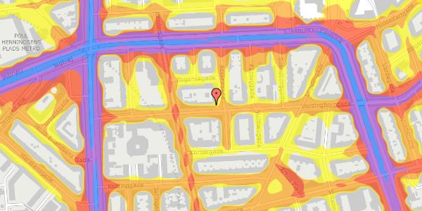 Trafikstøjkort på Vordingborggade 19, 3. tv, 2100 København Ø