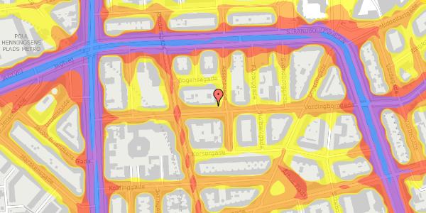 Trafikstøjkort på Vordingborggade 19, 4. tv, 2100 København Ø