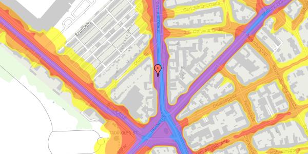Trafikstøjkort på Østerbrogade 43, kl. tv, 2100 København Ø
