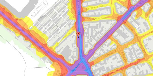 Trafikstøjkort på Østerbrogade 45, 1. mf, 2100 København Ø