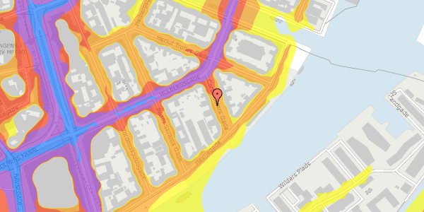 Trafikstøjkort på Cort Adelers Gade 8, 2. 220a, 1053 København K