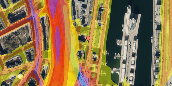 Trafikstøjkort på Amerika Plads 3D, 3. mf, 2100 København Ø