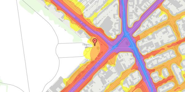 Trafikstøjkort på Øster Allé 1C, 2100 København Ø