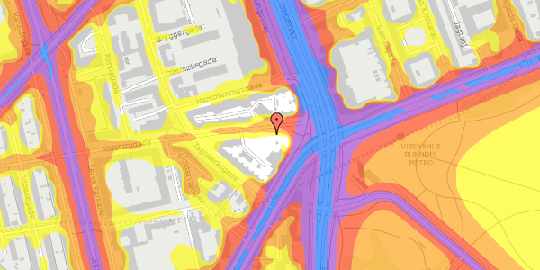 Trafikstøjkort på Aldersrogade 3, 2100 København Ø