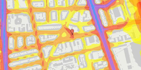 Trafikstøjkort på Århus Plads 1, 2100 København Ø