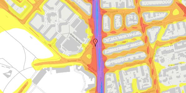 Trafikstøjkort på Gunnar Nu Hansens Plads 8, 2100 København Ø
