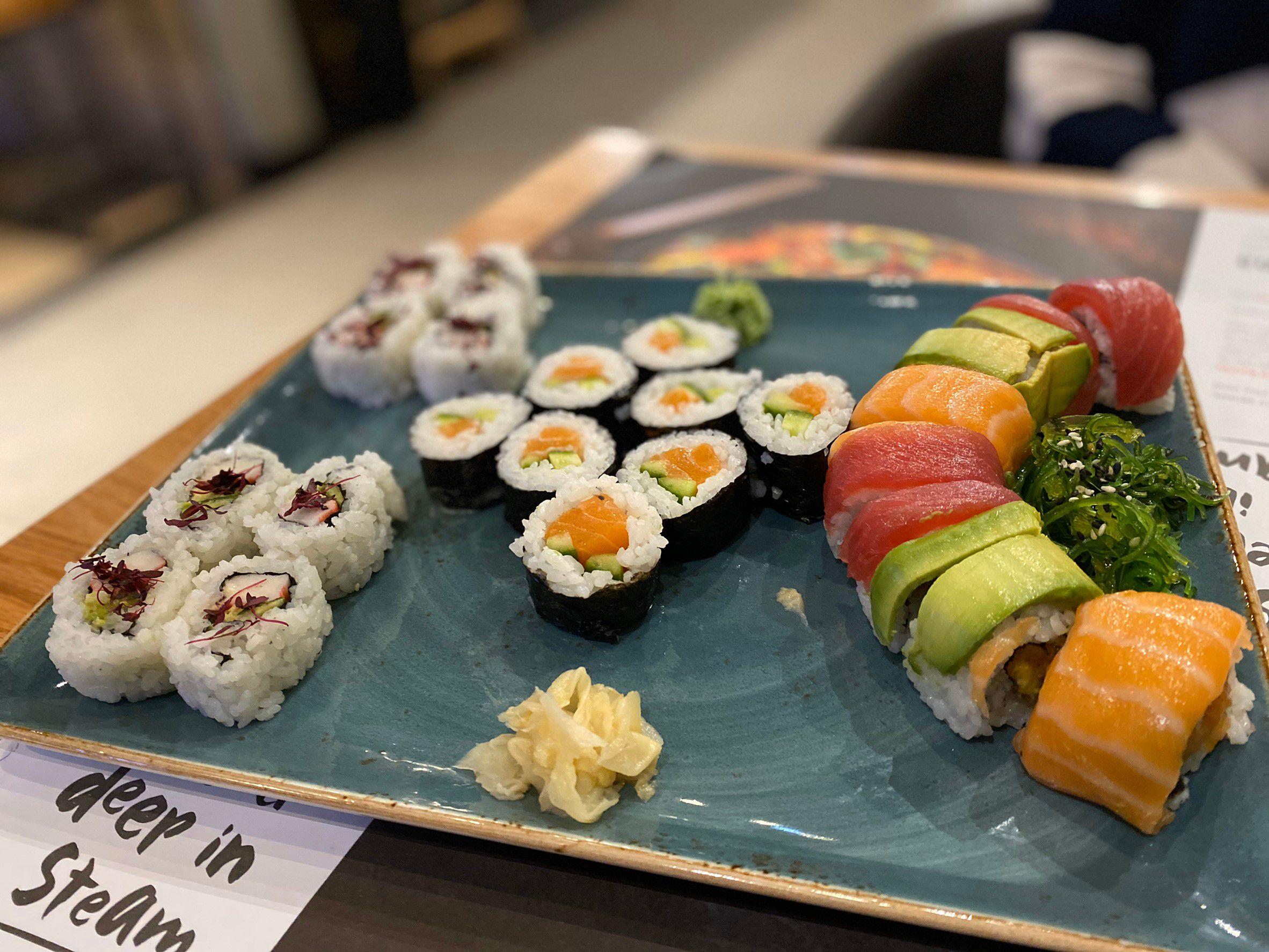 Rainbow sushi plate