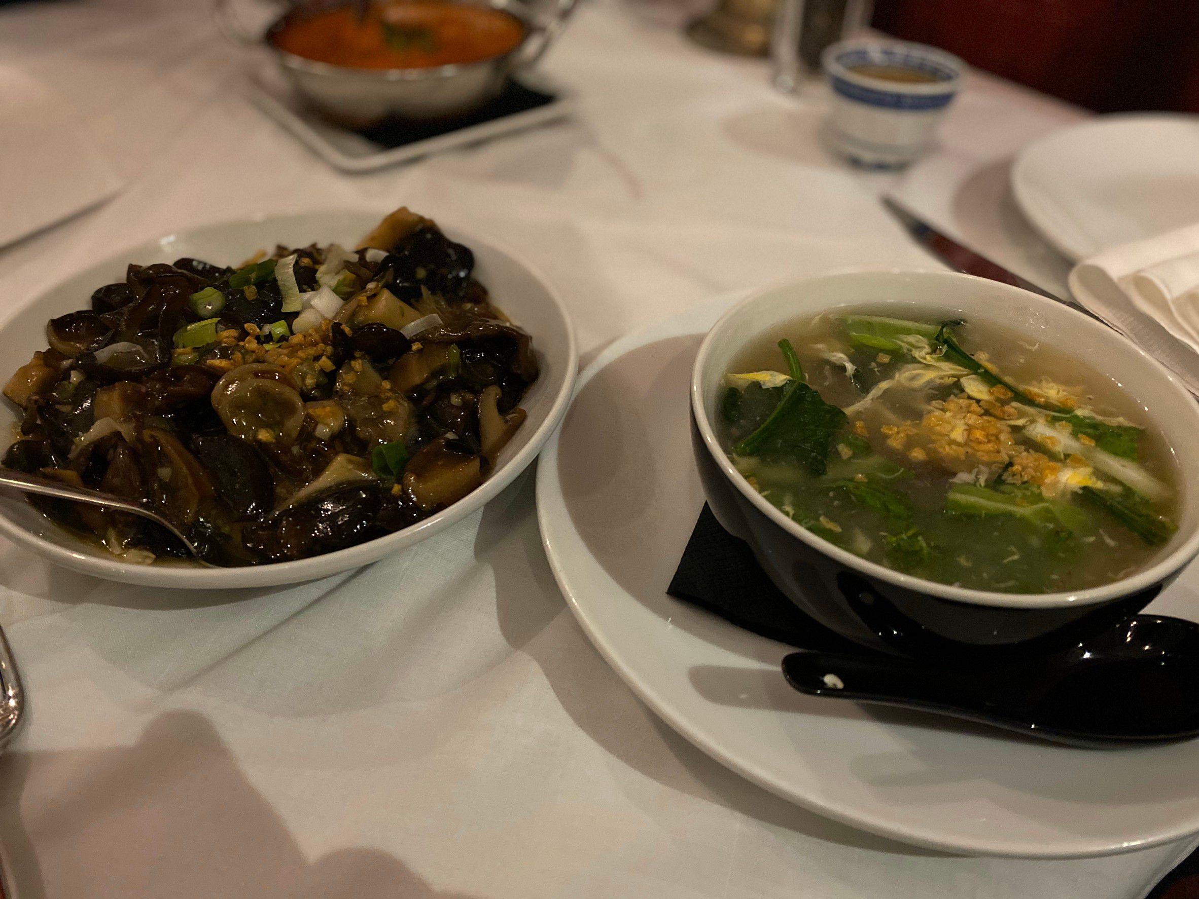 fried mushrooms, vegetable soup