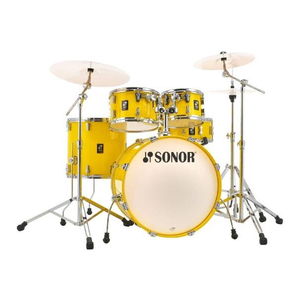 undefined Kit de batterie de scène 5 pièces Sonor AQ1 (caisse claire 22,10,12,16,14) avec matériel - Jaune