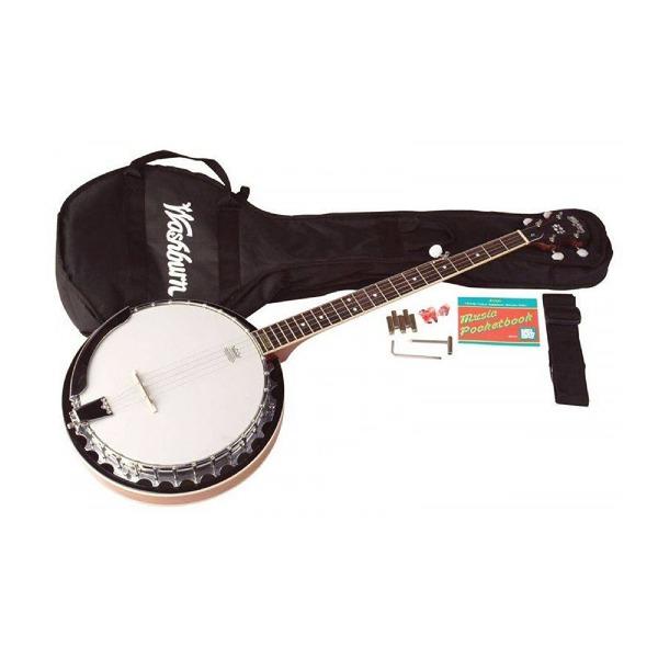 undefined Banjo 5 cordes avec étuis souple et accesoires Washburn B8K