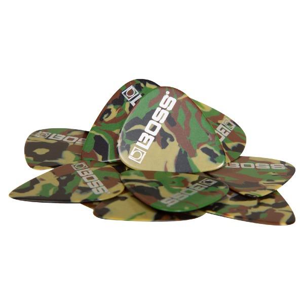undefined Médiator épais celluloid couleur camouflage Boss BPK-12-CH (sac de 12)