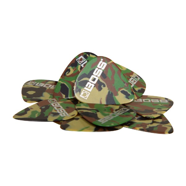undefined Médiator médium celluloid couleur camouflage Boss BPK-12-CM (sac de 12)