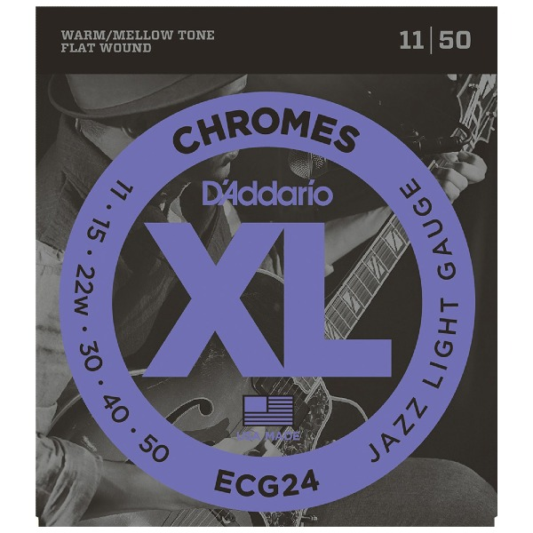 undefined Cordes D'Addario ECG24 - Chromes Flat enroulée JAZZ LIGHT 11-50