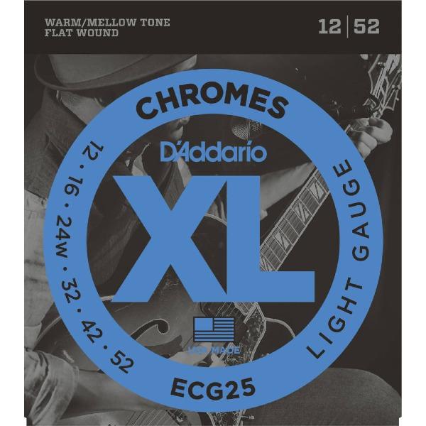 undefined Cordes D'Addario ECG25 - Chromes Flat enroulée JAZZ LIGHT 12-52