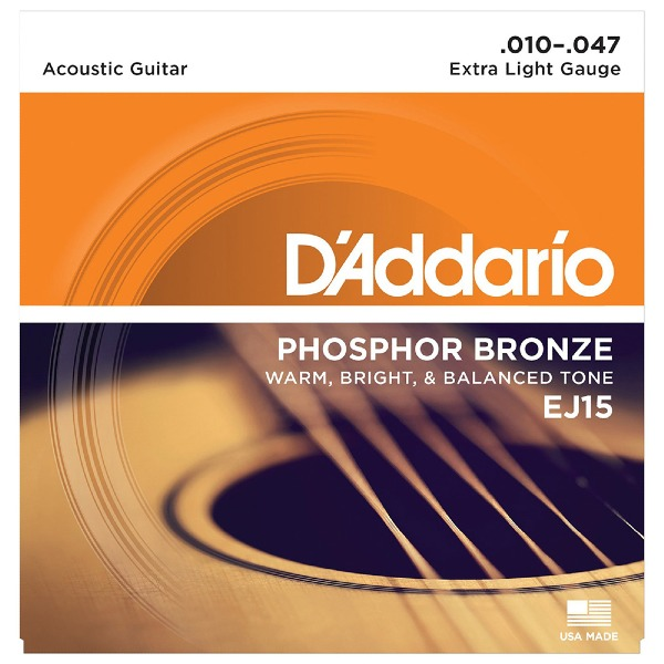 undefined Cordes guitare acoustique phosphore bronze Extra Light 10-47 D'addario EJ15