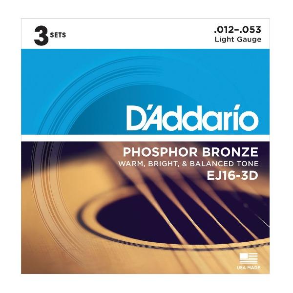 undefined Ensemble de 3 set de cordes de guitare acoustique 12-53 D'ADDARIO EJ16-3D