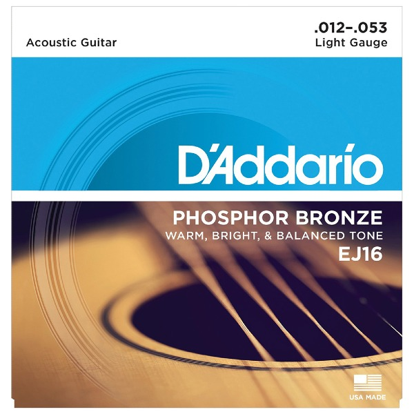 undefined Cordes guitare acoustique phosphore bronze light 12-53 D'Addario EJ16