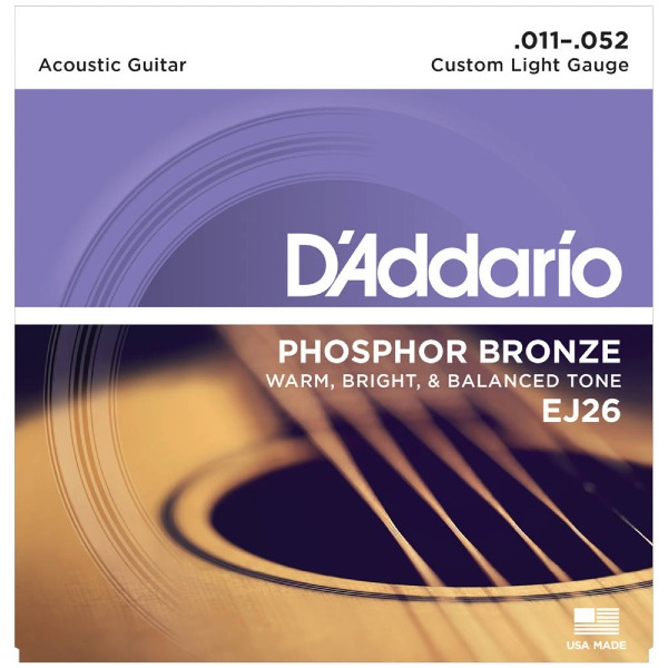undefined Cordes guitare acoustique phosphore bronze custom light 11-52 D'Addario EJ26