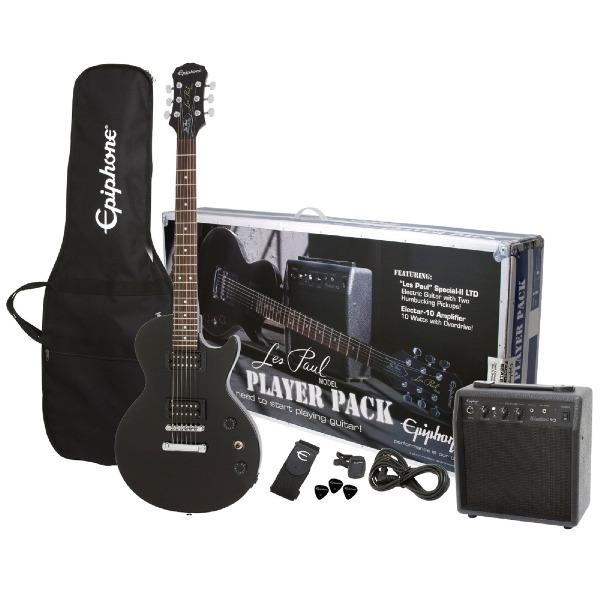 undefined Ensemble guitare electrique Les Paul noir avec ampli,gig bag et accessoires Epiphone ELPJVSCHPP