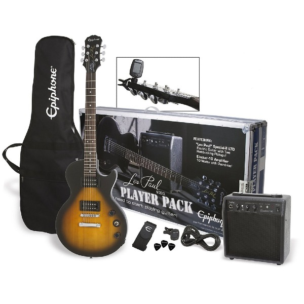 undefined Ensemble guitare electrique Les Paul sunburst avec ampli,gig bag et accessoires Epiphone ELPJVSCHPP
