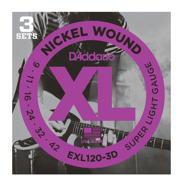 undefined Ensemble de 3 set de cordes de guitare électrique 9-42 D'ADDARIO EXL120-3D