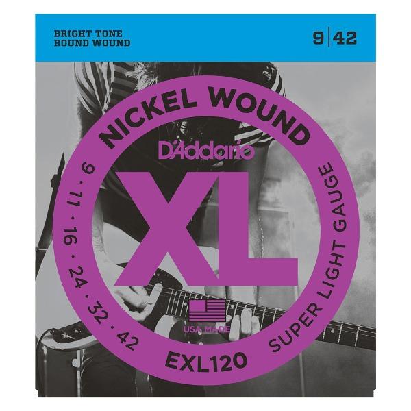 undefined Cordes guitare électrique nickel wound super light 09-42 D'Addario EXL120