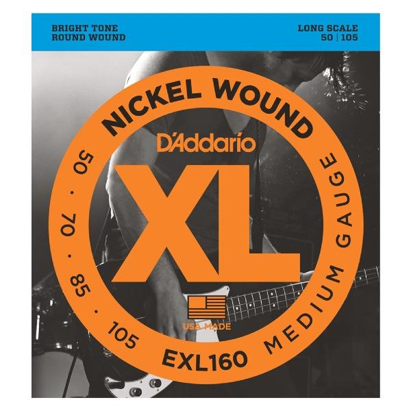 undefined cordes de basse Nickel Round enroulée Longue échelle 50-105 D'Addario EXL160