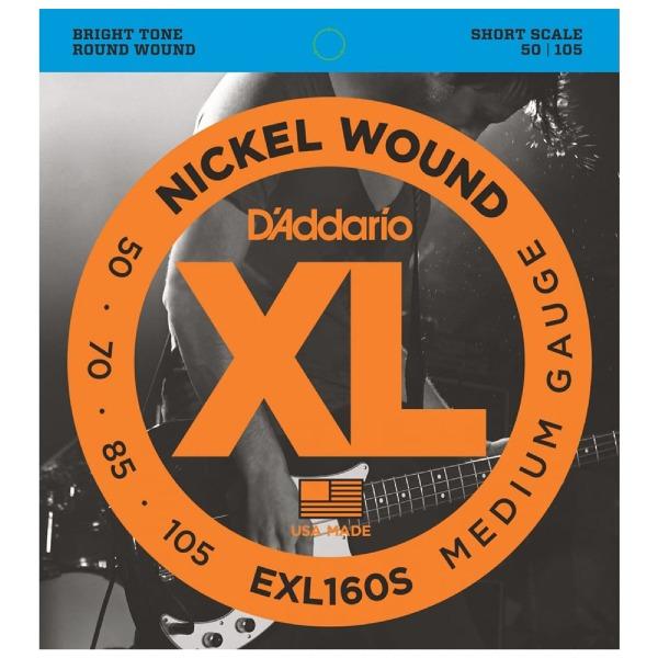 undefined Cordes de basse Nickel Round enroulée diapason court 50-105 D'Addario EXL160S