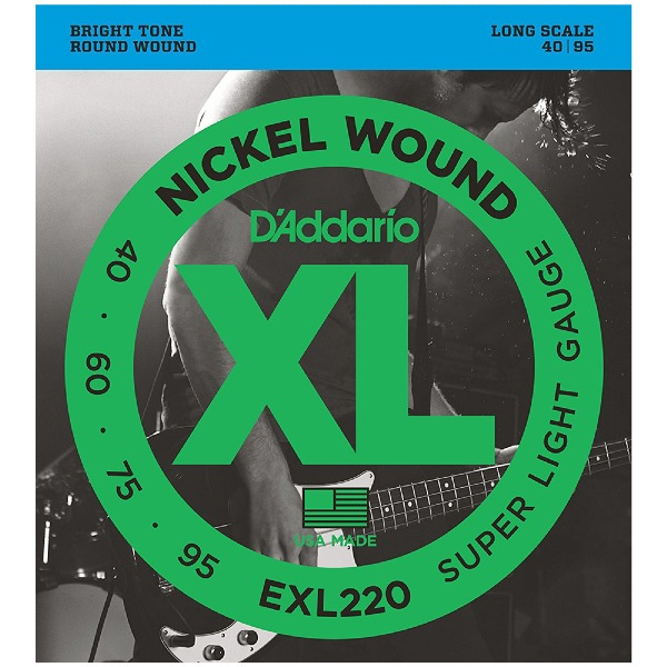 undefined Cordes basse Nickel Round diapason long 40-95 D'Addario EXL220
