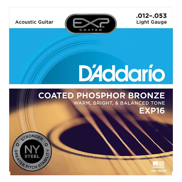 undefined Cordes D'Addario EXP16 - cordes bronze phosphoreux plaqué Léger 12-53