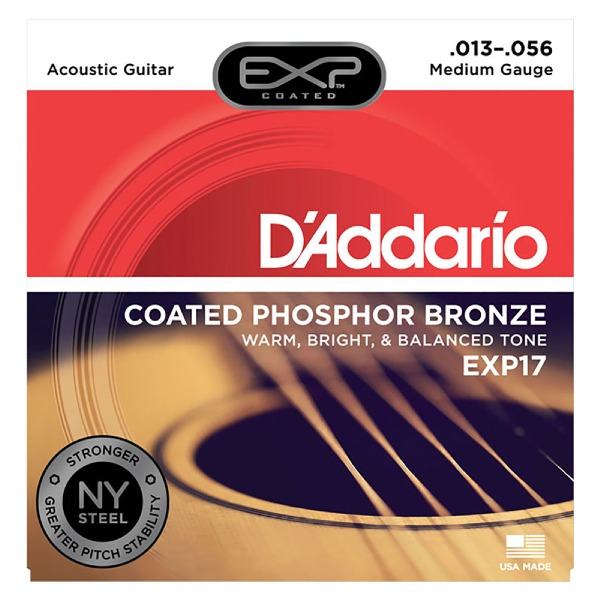 undefined Cordes guitare acoustique phosphore bronze Coated Medium 13-56 D'Addario EXP17