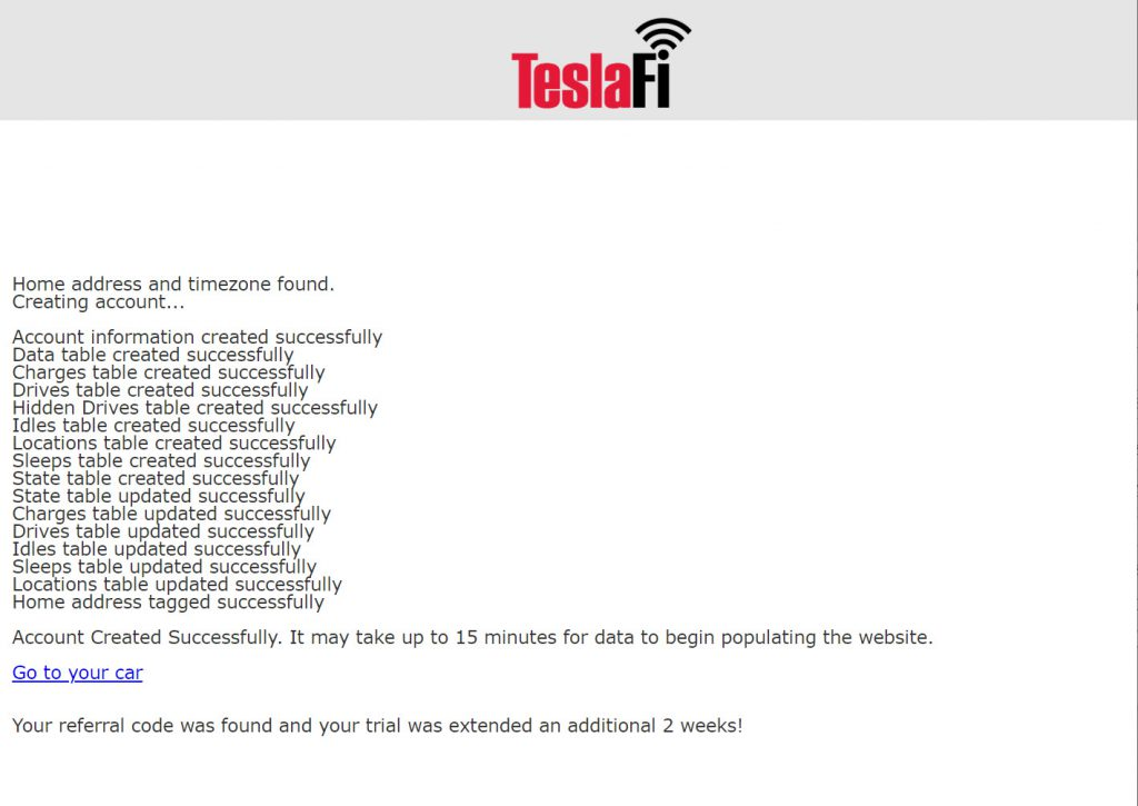 TeslaFi登録完了