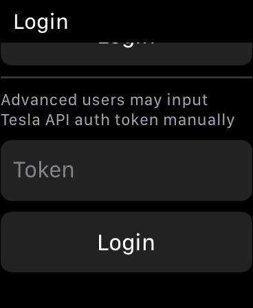 Watch app for Tesla Token Login