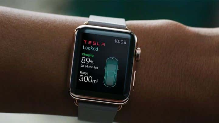 working with the tesla model 3 on the applewatch
