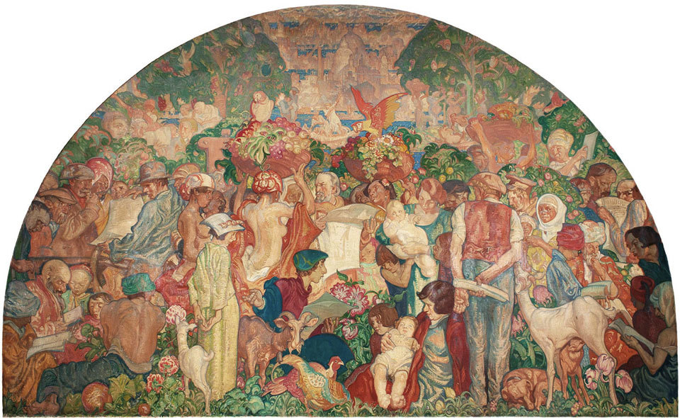 12. The Printed Word Makes the People of the World One by Sir Frank Brangwyn, Mural for the entrance hall of Odham Press, London. 1935-36. Oil on tempera canvas washed-in with tempera. 396.2 x 548.6cm.jpg