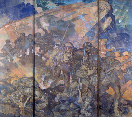 1. Sir Frank Brangwyn, A Tank in Action, tempera, 366 x 376, 1925-­‐1926, National Museum Wales