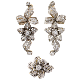 Aderezo de Anillo y Pendientes de Oro, Platino y Diamantes