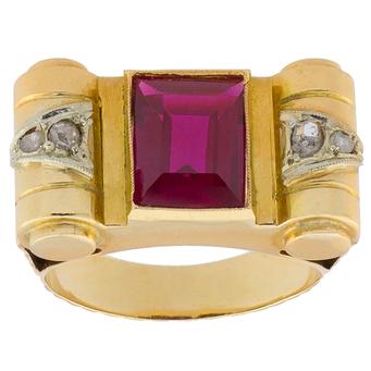 Anillo Chevalier de Oro, Rubí y Diamantes