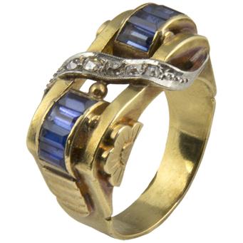 Anillo Chevalier de Oro, Diamantes y Piedras Azules