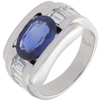 Anillo Gregory de Oro Blanco, Diamantes y Zafiro