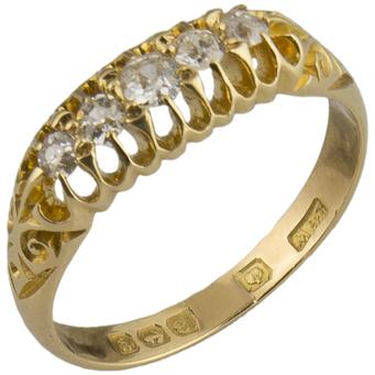 Sortija Inglesa Antigua de Oro y Diamantes